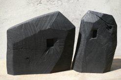 Pierres - Maisons, frêne et merisier, pièces uniques, 2014