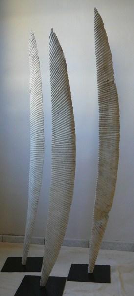 Trois messagers, triptyque, chêne, pièces uniques, 129 - 137,5 - 144, 2010