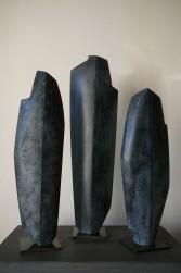 Trois pierres levées, Tilleul, H 37, H 43, H 33 cm, 2019